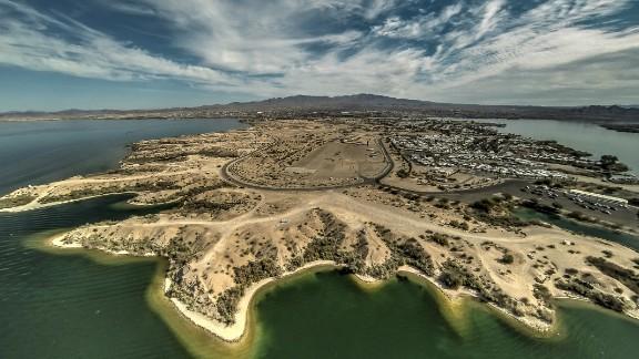 A drone-eye view of Lake Havasu City,  Arizona.