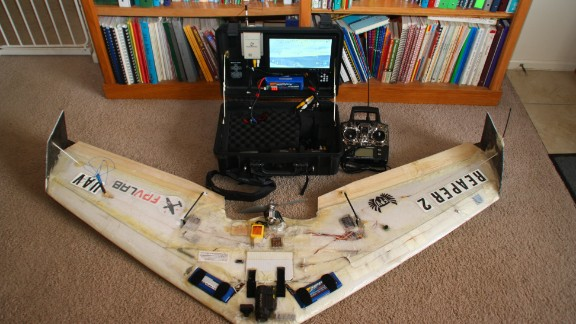A video-piloted remote control flying wing made from a kit.