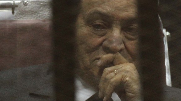 Hosni Mubarak -- seen here while on trial in May 2014 -- was taken into custody shortly after his ouster as Egypt