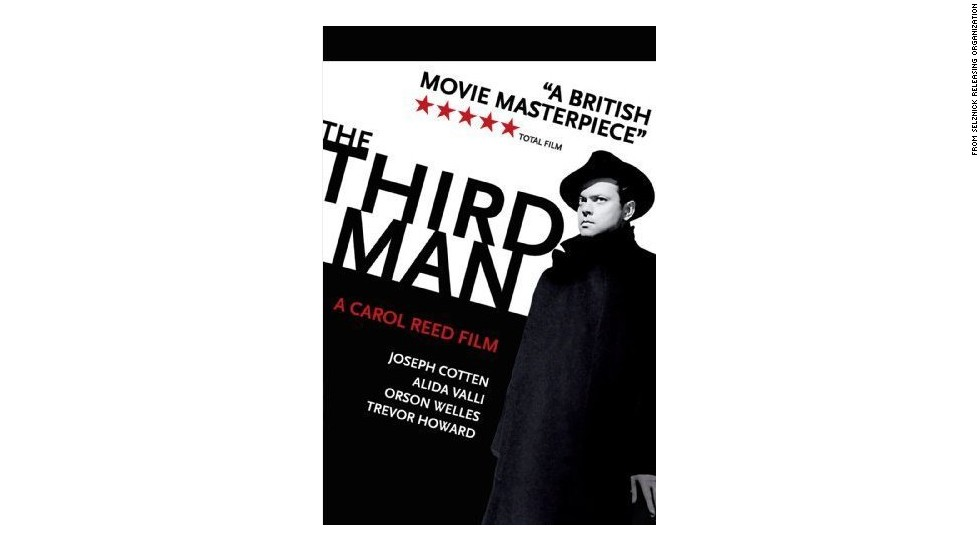 "Orson Welles as Harry Lime in the poster for 1949 film noir ""The Third Man"" which also starred Joseph Cotten, Alida Valli and Trevor Howard."