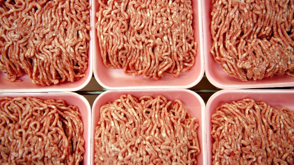 Ground beef is displayed for a photograph in the meat department of a supermarket in Princeton, Illinois, U.S., on Thursday, April 26, 2012. The first time mad cow disease appeared in the U.S., beef exports plunged 82 percent. More than eight years later, the discovery of an infected dairy cow in California may do little to prevent shipments from surging to a record for a second straight year. Photographer: Daniel Acker/Bloomberg via Getty Images
