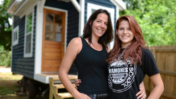 Suzannah Kolbeck, left, and her daughter, Sicily, worked together to build a tiny house. It started as a project for school, but the focus -- and lessons -- changed after the accidental death of Dane Kolbeck, Suzannah's husband and Sicily's father.