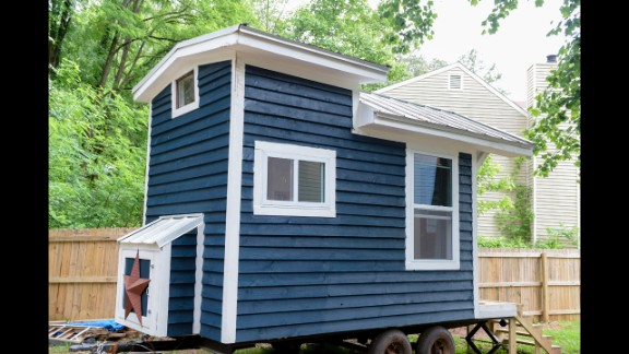 With the help of friends, family and the community of tiny house lovers, Sicily designed and built a 128-square foot house that can serve has a hangout space or living space.