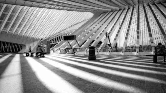 The ultra-modern steel and glass Liege-Guillemins railway station in Liege, Belgium, was designed by Spanish architect Santiago Calatrava and opened in 2008. This photo was shot by Andrea Schuh, a photographer in Cologne, Germany.