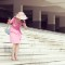 race track photography pink dress