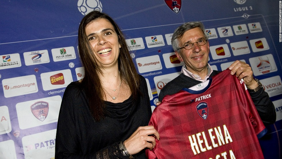 Helena Costa meets the media after becoming France's first ever professional female coach for a male team after her appointment at Clermont Foot.