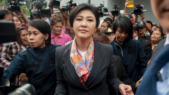Thai Prime Minister, Yingluck Shinawatra meets her supporters at the Defence Permanent Secretary Office on May 7, 2014 in Bangkok, Thailand.