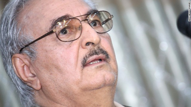 Retired Libyan Army general Khalifa Haftar speaks during a press conference in the town of Abyar, 70 km southwest of Bengahzi, on May 17, 2014.