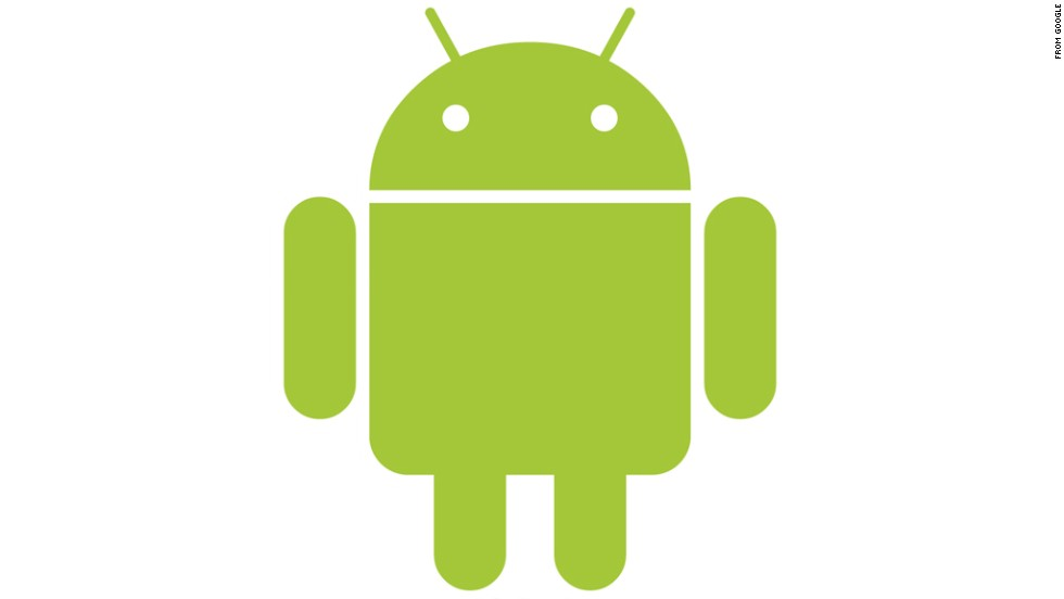 "Google touts its Android operating system with this stout green robot, which looks a bit like ""Star Wars'"" R2-D2 with longer legs. The Android logo was designed for Google in 2007 by graphic designer Irina Blok."