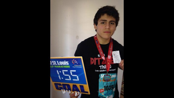 Edgar ramped up his running routine this year and completed his first half-marathon on April 6.