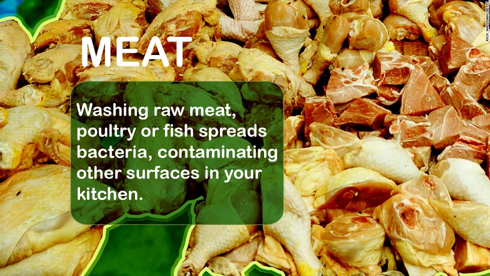"Bacteria that lives in meat, poultry and fish can mess with your GI tract. Food-borne illnesses include Salmonella, Campylobacter jejuni, E. coli, and Listeria monocytogenes  Source: <a href=""http://www.fsis.usda.gov/wps/portal/fsis/topics/food-safety-education/get-answers/food-safety-fact-sheets/safe-food-handling/washing-food-does-it-promote-food-safety/washing-food "" target=""_blank"">USDA</a>, <a href=""http://digestive.niddk.nih.gov/ddiseases/pubs/bacteria/#1"" target=""_blank"">NIH</a>"