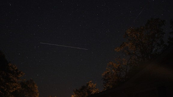 Astrophotographer Barry Shupp was hoping to get photos of the meteor shower from Hustontown, Pennsylvania. Instead, he had a chance to photograph the International Space Station while also catching a meteor passing by overhead.