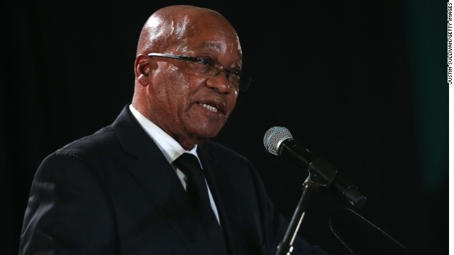 South African president Jacob Zuma speaks during an African National Congress (ANC) led alliance send off ceremony at Waterkloof military airbase on December 14, 2013 in Pretoria, South Africa.