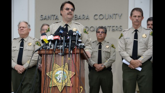 Santa Barbara County Sheriff Bill Brown speaks at a press conference regarding murder suspect Elliot Rodger on May 24. All the weapons used in Friday