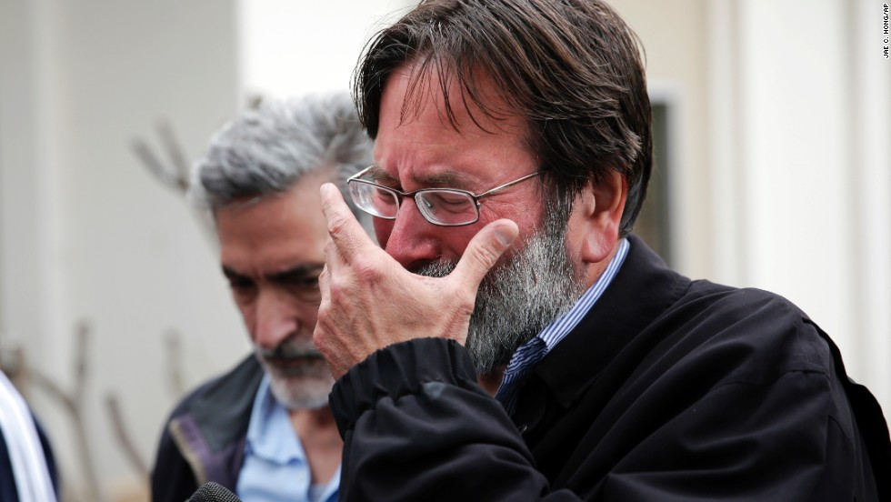 "Richard Martinez, father of victim Christopher Martinez, breaks down as he talks to media outside the Santa Barbara County Sheriff's Office. ""Our family has a message for every parent out there: You don't think it will happen to your child until it does,"" the visibly emotional parent said."
