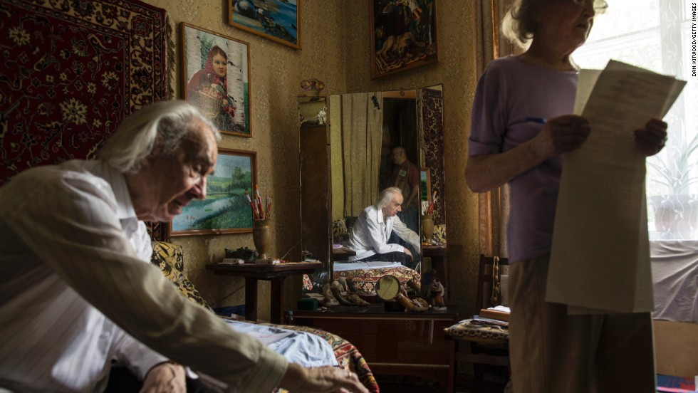 Artist Ivan Voronov, 91, and his wife, Svetlana Samoilechenko, 86, cast votes from their Kiev home on May 25.