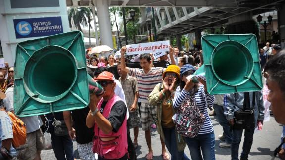 Protesters chant slogans during an anti-coup rally May 25 in Bangkok.