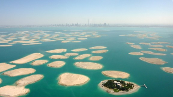 Not really a building, but still man-made, The World is an artificial archipelago in Dubai, United Arab Emirates. The 300 islands form a world map that can be seen from an aerial view.