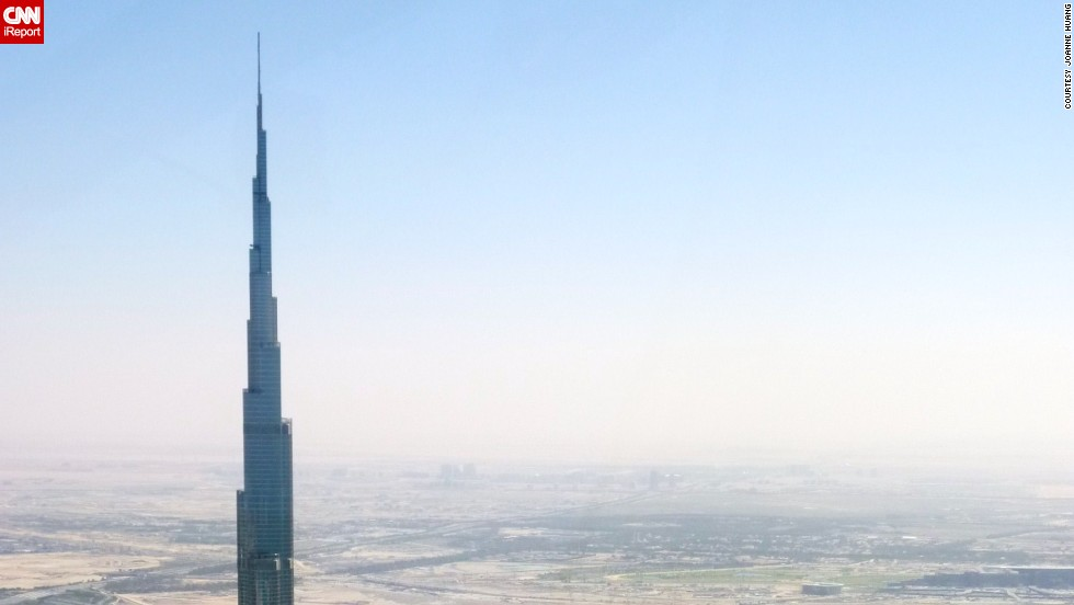 "This is just the tip of <a href=""http://ireport.cnn.com/docs/DOC-1129273"">Burj Khalifa</a>, which is the tallest man-made structure in the world, standing at 2,722 feet. It has set records for having the world's highest restaurant, elevator installation and even vertical concrete plumbing."