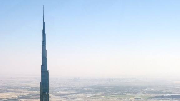 This is just the tip of Burj Khalifa, which is the tallest man-made structure in the world, standing at 2,722 feet. It has set records for having the world's highest restaurant, elevator installation and even vertical concrete plumbing.