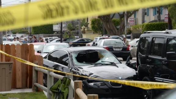 Caption:A crashed car, allegedly driven by a gunman, sits partly on the sidewalk on May 24, 2014 in Isla Vista, California, a beach community next to the University of California Santa Barbara. Seven people, including the gunman, were killed and seven others wounded in the May 23 mass shooting, Santa Barbara County Sheriff Bill Brown said Saturday. Brown said at a pre-dawn press conference that the shooting in the town of Isla Vista