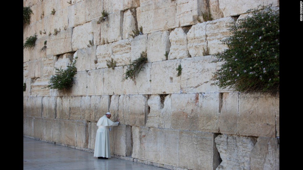 Pope Francis prays in front of the Western Wall in Jerusalem's Old City on Monday, May 26. The Pope has been on a three-day historic trip to the Middle East, his first as leader of the Roman Catholic Church.