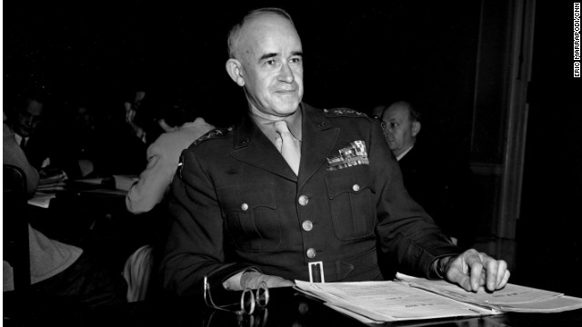 VA head Gen. Omar Bradley at a congressional hearing in 1945 asking for the creation of VA Medical Corps.