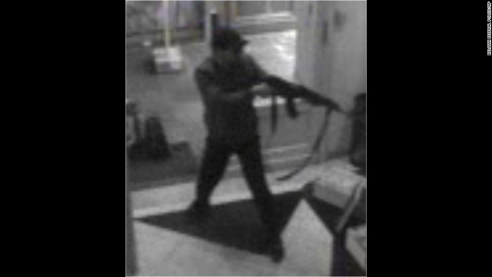 In this hand out photo distributed by the Belgian Federal Police, a surveillance camera shows the suspected killer near the museum on May 24.