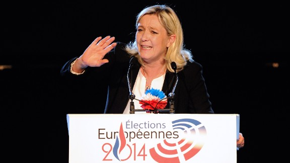 French far-right Front National (FN) party president Marine Le Pen delivers a speech during a campaign meeting in Lens, northern France, on May 17, 2014 ahead of the May 25 European elections in France.