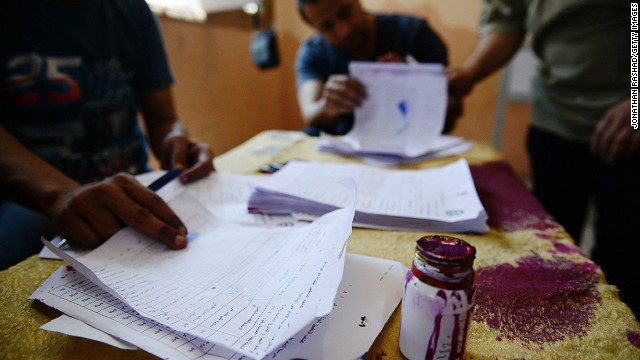 The ballot ink during the voting process in a polling station in Cairo on May 26, 2014 in Cairo, Egypt.