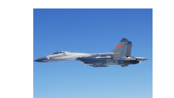 An image of a Chinese fighter jet released by Japan