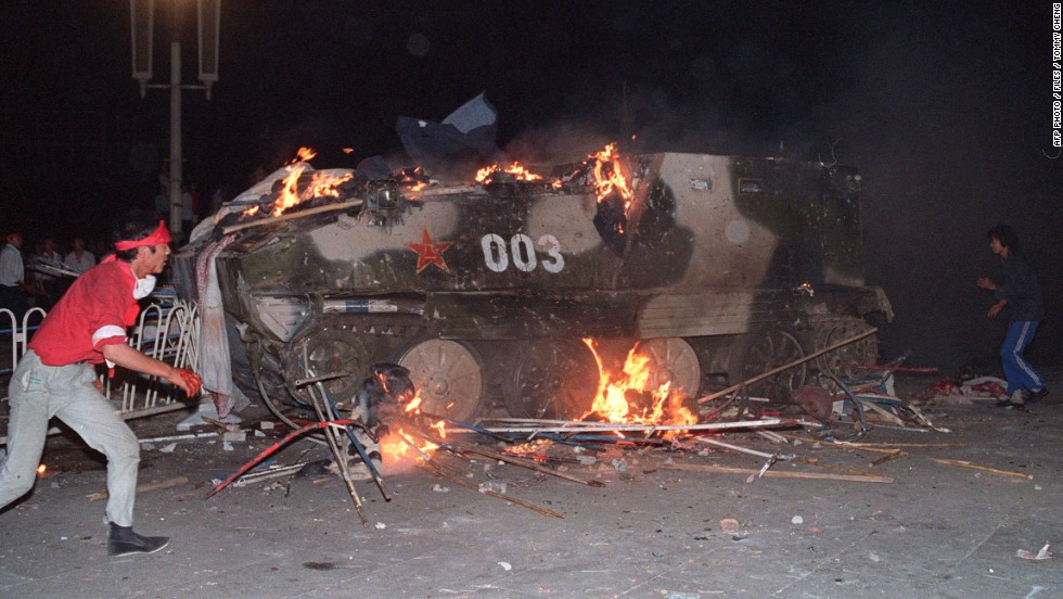 June 4, 1989, students set fire to tanks. An official death toll has not been released but witnesses and human rights groups say hundreds were killed in the clash.