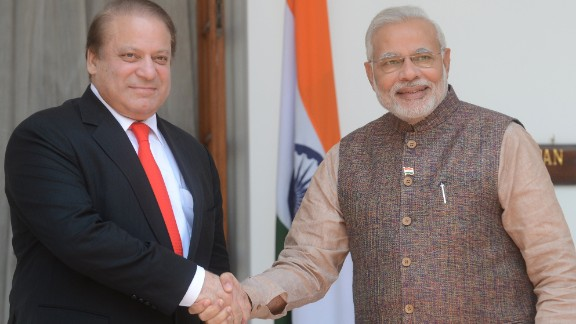 India's new Prime Minister Narendra Modi (R) shakes hands with Pakistani Prime Minister Nawaz Sharif during a meeting in New Delhi on May 27, 2014. Indian Prime Minister Narendra Modi met his Pakistani counterpart Nawaz Sharif for landmark talks in New Delhi May 27 in a bid to ease tensions between the nuclear-armed neighbours. AFP PHOTO/RAVEENDRAN RAVEENDRAN/AFP/Getty Images