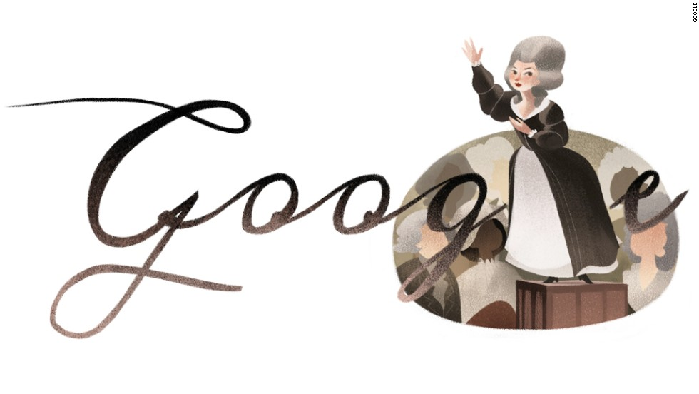 A popular Doodle in France on May 7, 2014, celebrated playwright and political activist Olympe de Gouges' 266th birthday.