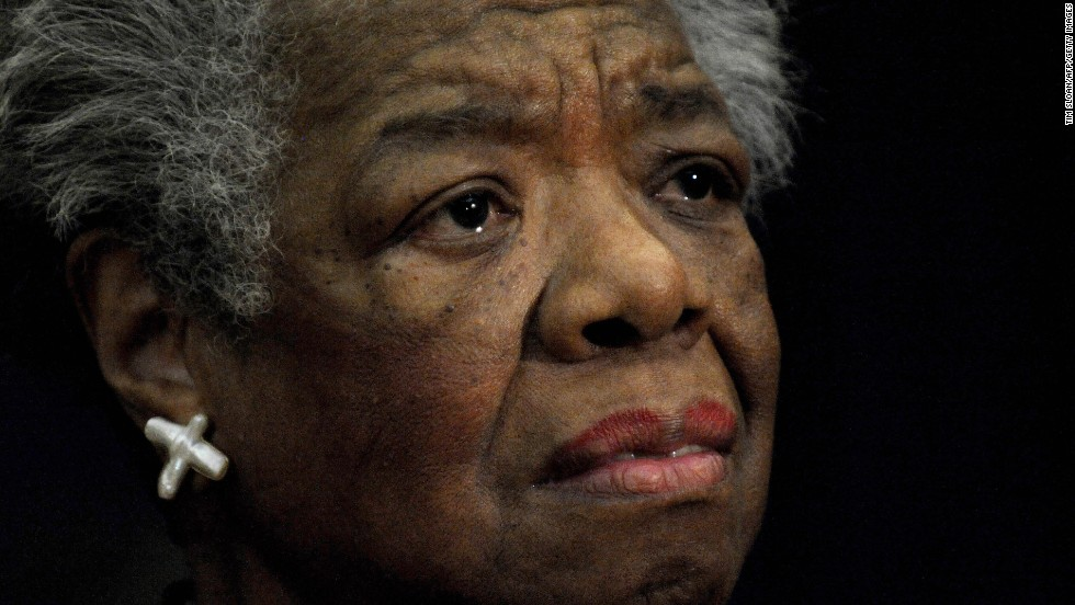Angelou reads a poem during a 2008 ceremony to present South African Archbishop Desmond Tutu with the William J. Fulbright Prize for International Understanding.