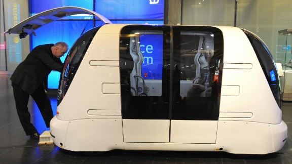 This driverless vehicle, shown in 2009, is part of a 21-strong fleet operating at London Heathrow Airport. The pod can carry four passengers with their luggage and can travel at up to 25 mph.