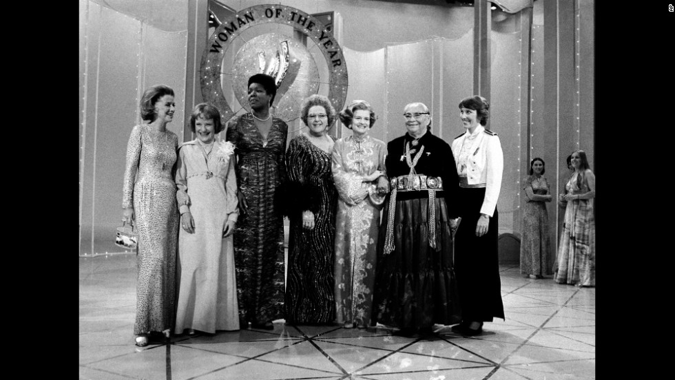 "From left, actress Betty Furness, educator Bettye Caldwell, Angelou, singer Kate Smith, first lady Betty Ford, Dr. Annie D. Wauneka and former Olympic diver Micki King pose for a photo during the taping of the television special ""Woman of the Year 1976"" in New York City."