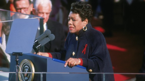 """Angelou recites her poem """"On the Pulse of Morning"""" at the inauguration of President Bill Clinton in 1993."""