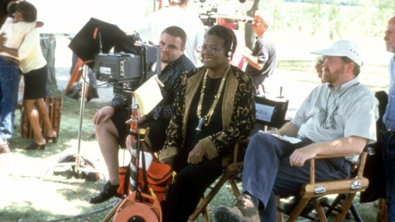 """Angelou works on the set of """"Down in the Delta"""" in 1998. Angelou directed the film, which starred Alfre Woodard."""