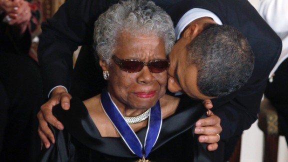 Angelou receives the Medal of Freedom from President Barack Obama at the White House in 2011. The Medal of Freedom is the country's highest civilian honor.