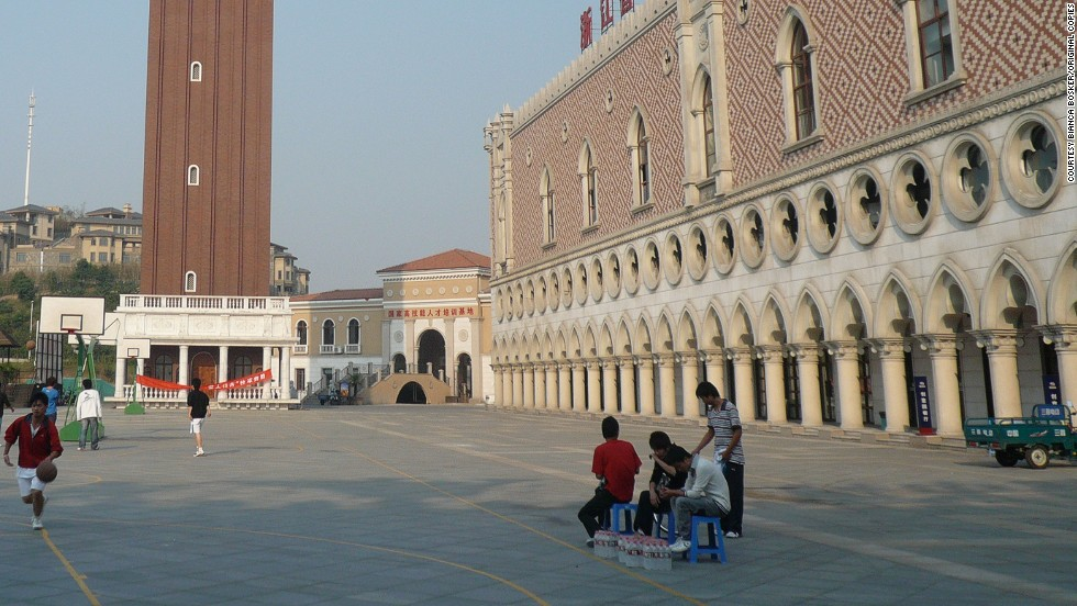 "Chinese youths play basketball in the replica version of Venice's Piazza San Marco in Huangzho, eastern China.<br /><br />""I think in many ways they (the Chinese) are appropriating the culture and cultural achievements of the west,"" Bosker continued. <br /><br />""They're doing this not only as a way of experimenting with a new lifestyle but also as a way of showing that they have made it."""