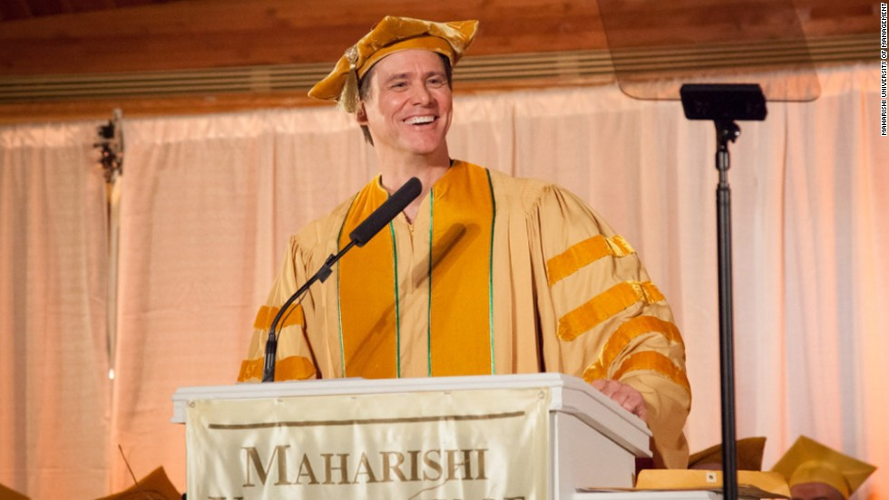 "The actor offered some <a href=""http://www.cnn.com/2014/05/28/showbiz/celebrity-news-gossip/jim-carrey-commencement-speech/index.html"">inspiring words to the Maharishi University of Management in Fairfield, Iowa</a>, on May 24: ""Like many of you, I was concerned about going out into the world and doing something bigger than myself, until someone smarter than myself made me realize that there is nothing bigger than myself,"" he said. ""My soul is not contained within the limits of my body; my body is contained within the limitlessness of my soul."""