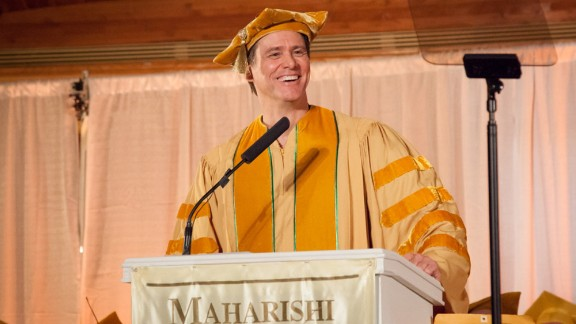 """The actor offered some <a href=""""http://www.cnn.com/2014/05/28/showbiz/celebrity-news-gossip/jim-carrey-commencement-speech/index.html"""">inspiring words to the Maharishi University of Management in Fairfield, Iowa</a>, on May 24: """"Like many of you, I was concerned about going out into the world and doing something bigger than myself, until someone smarter than myself made me realize that there is nothing bigger than myself,"""" he said. """"My soul is not contained within the limits of my body; my body is contained within the limitlessness of my soul."""""""