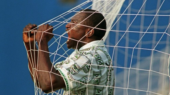 Nigeria reached the last 16 in 1994 at their debut World Cup. Rashidi Yekini celebrates after his side score their first goal of the campaign against Bulgaria.