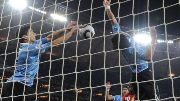Ghana could have become the first African nation to reach the semifinal stage of a World Cup in 2010, only for Luis Suarez's hands to deny Dominic Adiyiah's last-minute goal-bound header. Asamoah Gyan missed the resulting spot-kick, before Uruguay went on to win the ensuing penalty shootout.