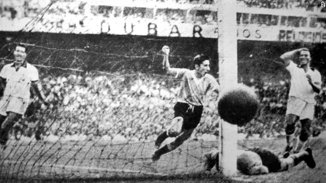 Uruguay player Ghiggia scores during the World Cup Final, against Brazil, in the Maracana Stadium in Rio de Janeiro, Brazil, July 16, 1950 . Uruguay defeated Brazil 2-1 to win the Rimet Cup. (Ap Photo)