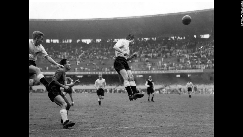 Stan Mortensen's header scores England's first goal in the country's 2-0 victory over Chile in Rio de Janeiro. It was England's first-ever World Cup match.