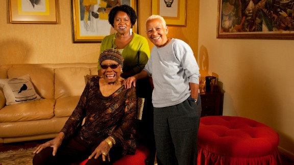 """""""Doc"""" Maya Angelou (seated) with Joanne Gabbin (left) and Nikki Giovanni in 2012."""