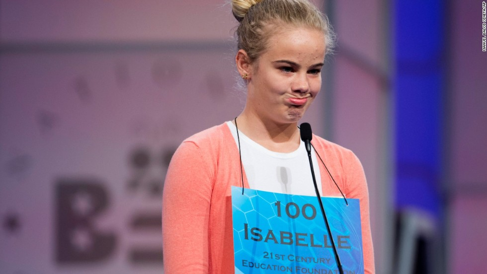 Isabelle Marie Simmons, of Annapolis, Maryland, reacts after misspelling a word on May 28.