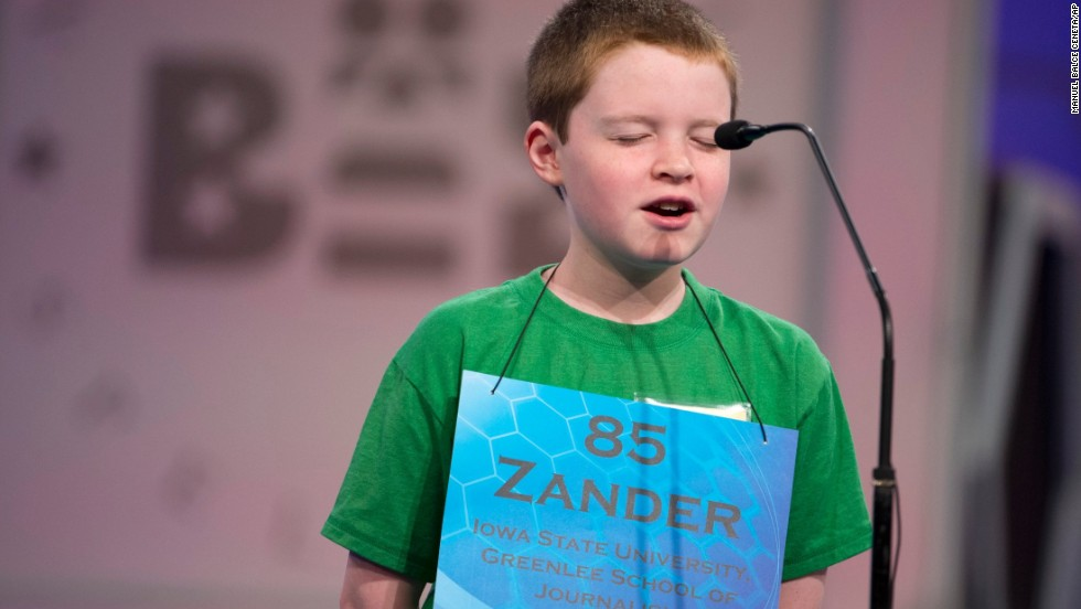"Zander Reed, of Ames, Iowa, closes his eyes and spells the word ""precipice"" on May 28."